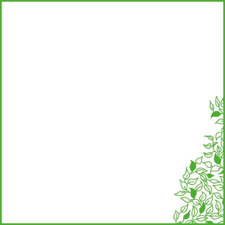 time frame: Green frame with leaves, spring time. Illustration
