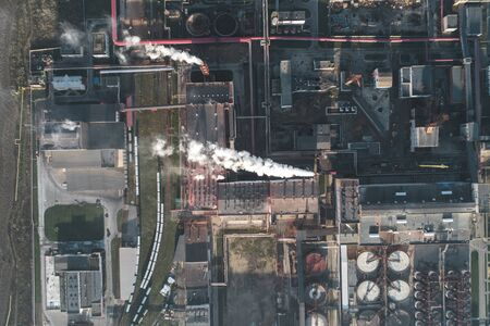 production of potash fertilizers, smoke from pipes creates pollution. shot by drone