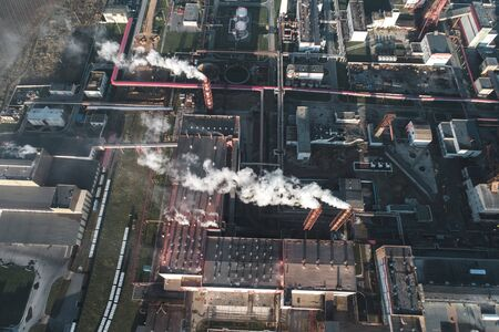 production of potash fertilizers, smoke from pipes creates pollution. shot by drone Stock Photo - 138461251