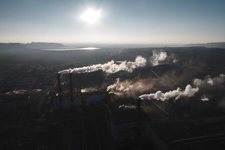 production of potash fertilizers, smoke from pipes creates pollution. shot by drone Stock Photo - 138461106