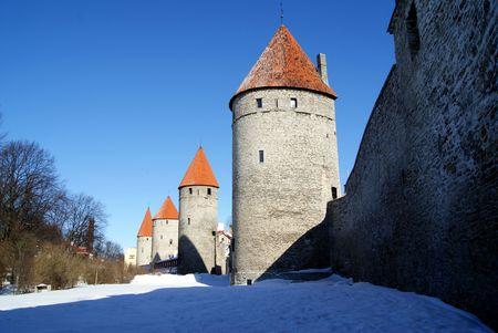 Tallinn, T�rme und Mauern der alten Stadt   Lizenzfreie Bilder