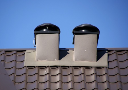 vents: Fresh air moves to facilities on pipes  Stock Photo