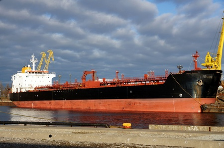 The tanker on a background of the sky and clouds Stock Photo