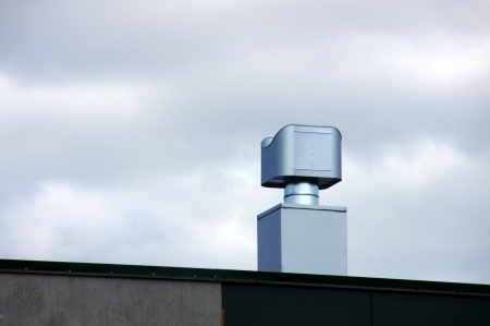 Ventilation on a roof and a wall of an industrial building