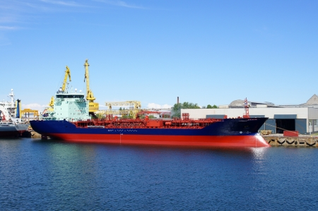 The big tanker on a background of the blue sky Stock Photo