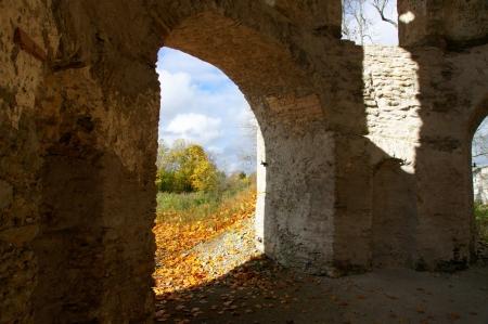 Blick auf die Natur aus den Ruinen eines alten Turms