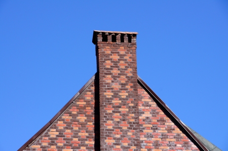 The wall and chimney with blue sky Stock Photo
