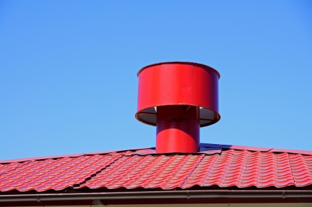 The greater round pipe of ventilation costs on a roof