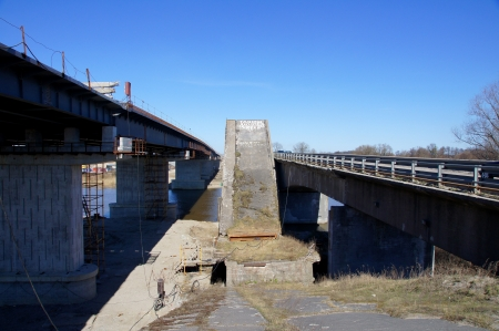 The destroyed bridge is between two bridges