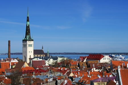Tallinn, roofs of old city and the blue sky Stock Photo