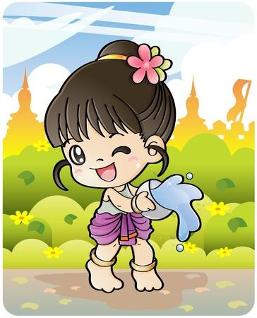 Festival de nouvel an thaï/eau Songkran du 13 au 16 avril en Thaïlande.  Vecteurs
