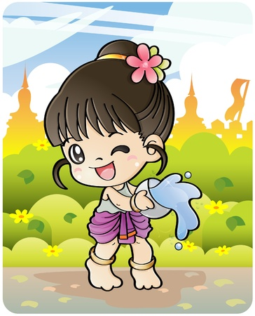 Songkran Thai new year/water festival April 13-16 in Thailand. Vector Illustration