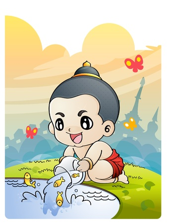 The boy releasing fish from small cage, Thai culture, Releasing birds at Songkran  Illustration