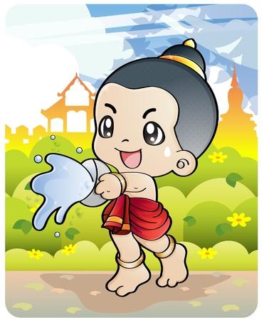 Songkran Thai new year/water festival April 13-16 in Thailand. Stock Vector - 9398860
