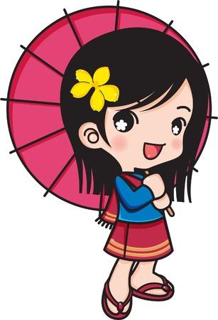 Chiang Mai girl smiling with umbrella, Chiang Mai Thailand.