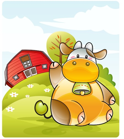bála: illustration representing a farm background with a cute cow, green hills an trees.