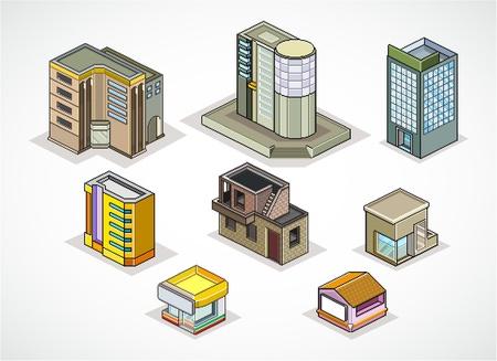 Pixels Art illustration of  isometric buildings