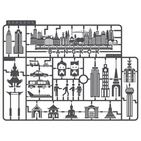 Plastic Model set van Bangkok Metropolis Stock Illustratie