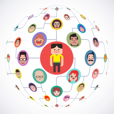 People connect in social media network or business ,Internet chat community communication, Vector illustrator