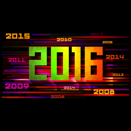 Colorful design Happy New Year 2016, Vector illustration Illustration