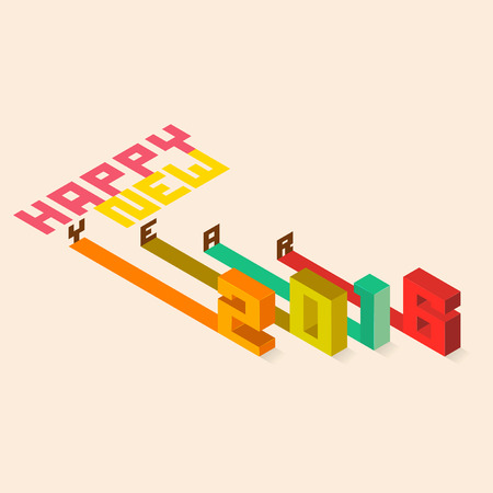 Colourful design Happy New Year 2016, Isometric styler, Vector illustration