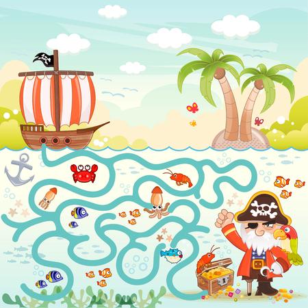해적과 어린이를위한 보물 상자 미로 게임. 세 해적이 보물 상자로가는 길을 찾을 수 있습니다. 포함 된 EPS 파일을 사용할 수 있습니다. 일러스트