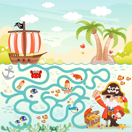 Pirates and treasure box maze game for children. Help the three pirates find the way to the treasure box. Eps file available. Ilustração