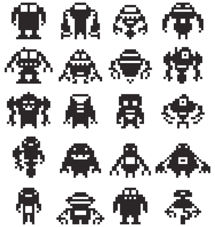 Pixel art robots  collection, Vector illustrator