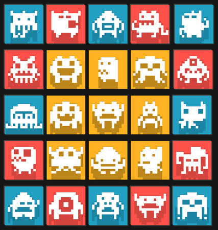 Pixel art monsters and animals collection, Vector illustrator Illustration