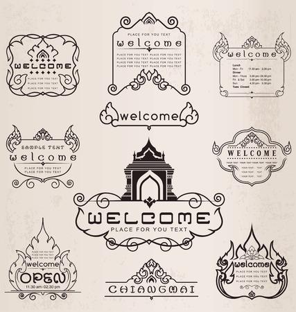 Thai art pattern vintage design elements and frames, Set of vintage design elements and frames, Line thai, Vector illustrator