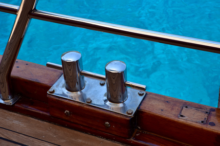 cleats: Cleats on the deck of a Turkish Gulet yacht