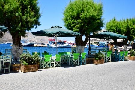 greek islands: Waterfront Tavernas on the Greek islands Stock Photo