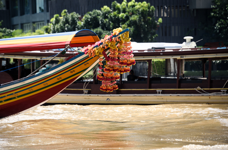 Boats on the river in Bangkok Thailand