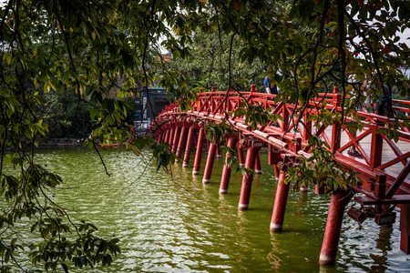 The Huc bridge entrance to Ngoc Son temple on Hoan Kiem lake, Hanoi, Vietnam