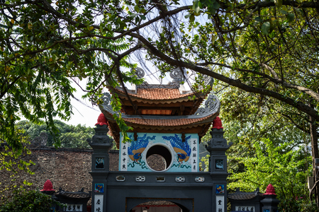 Entrance to The Temple of the Jade Mountain is on Hoan Kiem Lake in Hanoi, Vietnam.