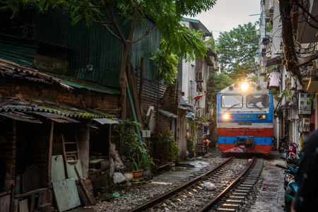 The Siagon to Hanoi Train line in Old Quarter Hanoi