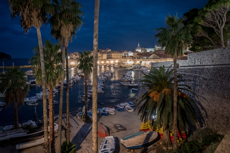 The harbour in Dubrovnik old town at night Editorial