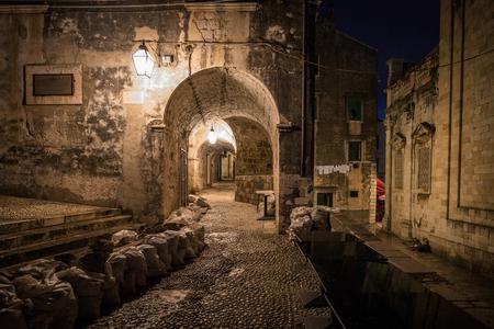 Back street sof Dubrovnik at night