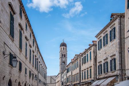 Looking down Stradun or main street in Old town Dubrovnik