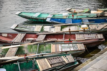 Traditional rowing boats in Tam Coc Ninh Binh Vietnam