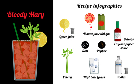 Alcoholic popular cocktail  Bloode Mary recipe with ingredients. Cocktail infographic set. Flat vector illustration. Tomato juice, vodka, Cayenne pepper sauce, ice, celery. Suitable for animation.