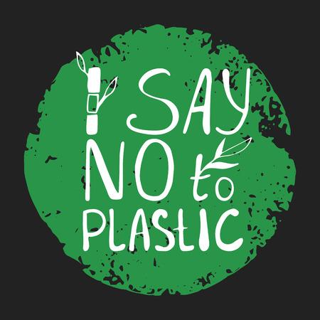 Di no al texto plastice con brotes de bambú sobre fondo verde abstracto. Firmar alrededor de diseño vectorial de círculo