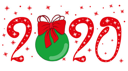 Red inscription lettering  2020 with white snowflakes.  Vector green ball with a red  bow in cartoon doodle style