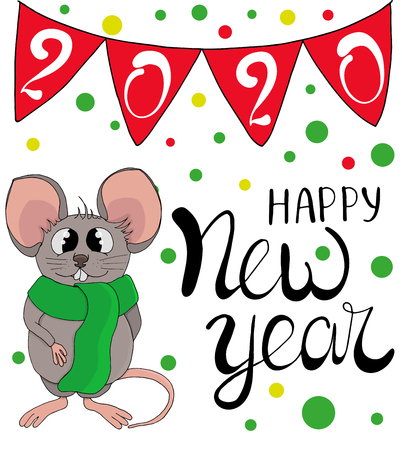 Vector of cartoon doodle white funny cute rat in warm red scarf. Congratulatory inscription lettering of a happy new year. Garland checkboxes with numbers 2020.