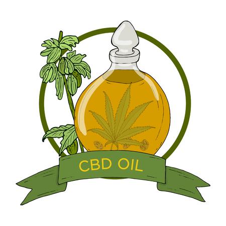 Organisches Kräuterabzeichen von Hanf-Cannabisöl mit Bandfahnen lokalisiert auf weißem Hintergrund. CBD. Handzeichnungsvektorillustration für Zeitschriften, Poster, Verpackungen, Karten, Webseiten.