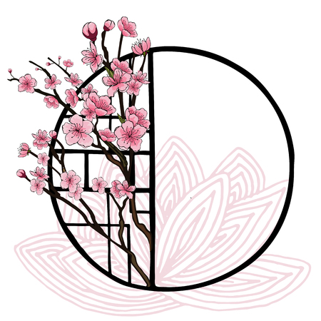 Spring oriental style banner with traditional Chinese window frame and pink cherry flowers, sakura on tree branches, lotus contours. Poster design, light background, place for text. Vettoriali