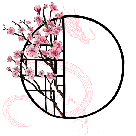 Spring oriental style banner with traditional Chinese window frame and pink cherry flowers, sakura on tree branches, dragon contours. Poster design, light background, place for text.