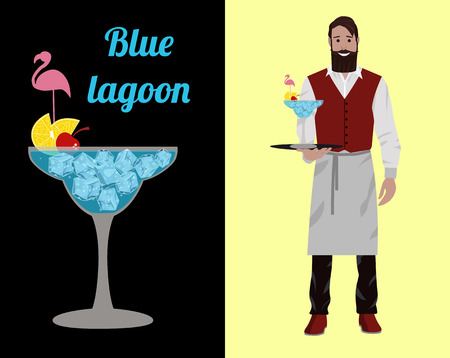Fashionable barman with a beard and a hipster mustache in a red yolk and white apron isolated on a color background. Vector flat illustration. The bartender stands with a cocktail Blue Lagoon on a tray in his hand and smiles.