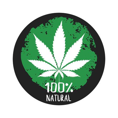 Cannabis marijuana labels emblems badge 100 natural.