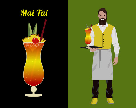 Fashionable barman with a beard and a hipster mustache in a red yolk and white apron isolated on a color background. Vector flat illustration. The bartender stands with a cocktail Mai Tai on a tray in his hand and smiles. Illustration